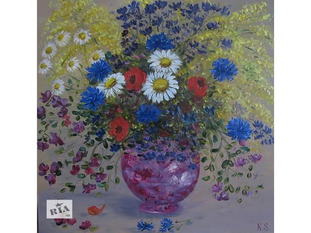 купить бу Картина Аромат полевых цветов, холст, масло, 40 на 40 см в Киеве