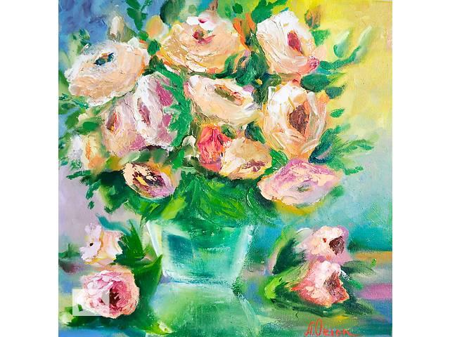 купить бу Картина маслом 30х30. Яркая картина на любой подарок! Цветы, натюрморт в Киеве