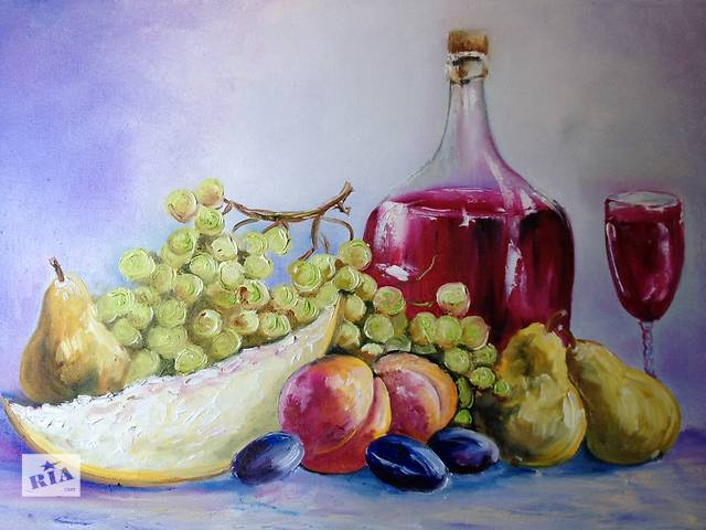 "бу Картина ""Натюрморт с фруктами"" масло холст в Черкассах"