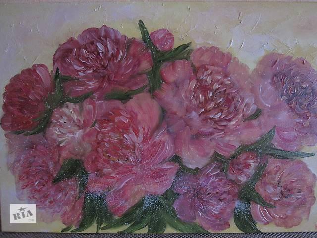 купить бу Акция!картина розовые пионы, холст, масло, 60 на 40 см в Киеве