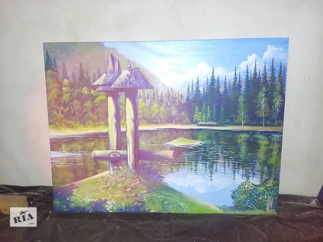 продам картина на Озеро Синевир Закарпатье размер-80. 60 маслясний красный. бу в Ужгороде