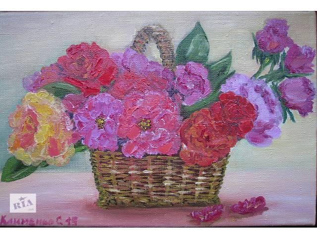 купить бу Картина Корзинка с розами, холст, масло, 20 на 30 см в Киеве
