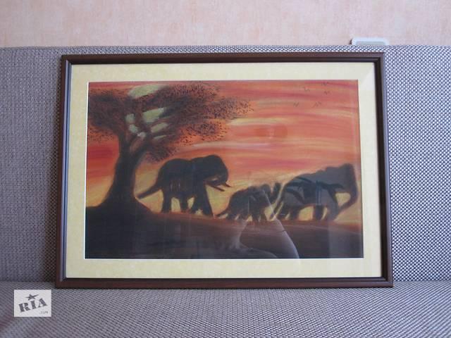 Картина семья слоников, тонированная бумага, пастель, 55, 5 на 39, 5 см- объявление о продаже  в Киеве