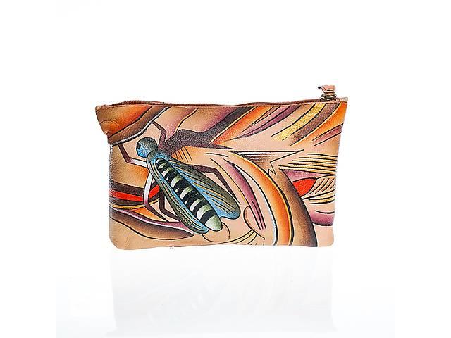 купить бу Клатч-косметичка кожаный с ручной росписью и оригинальным рисунком в Киеве