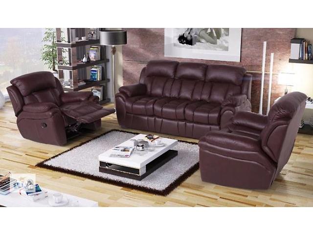 Комплект мебели из кожи Бостон (3р-1-1) для гостиной, коричневый цвет- объявление о продаже  в Киеве