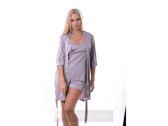 купить бу Комплект светло серый пижама-халат, К09п в Харькове