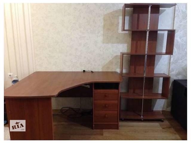 Компьютерный стол + книжная полка (цв. орех)- объявление о продаже  в Киеве