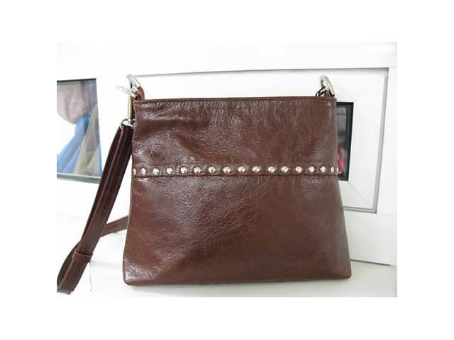 продам Коричневая сумка - кросс-боди через плечо, натуральная кожа.  бу в Киеве