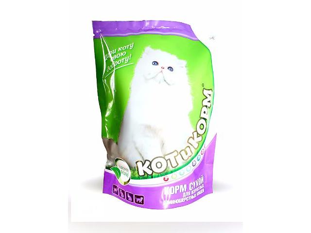 купить бу КОТиКОРМ ( Кот и корм )белорусский сухой премиум корм для взрослых длинношерстных кошек 0,4кг в Киеве