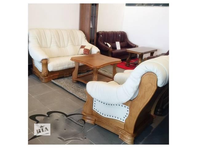 бу Кожаная мебель на дубе, кожаный диван + 2 кресла Boss в Дрогобыче