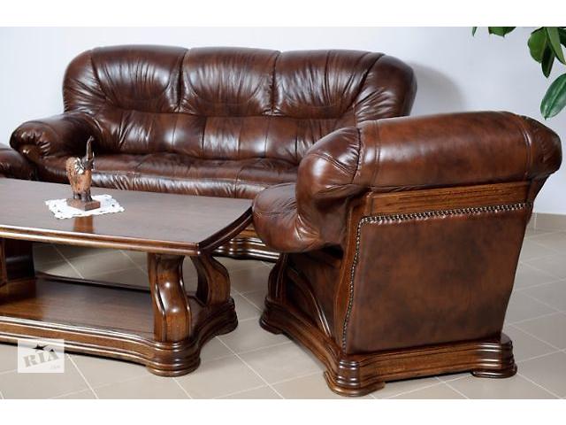 купить бу Кожаная мебель Сенатор 3р+1+1 в коричневом цвете в наличии в Киеве