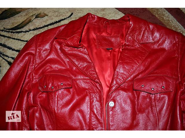купить бу Кожанный кардиган красного цвета в Полтаве