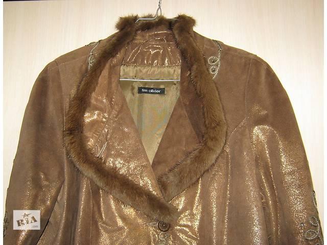 купить бу Кожаное коричневое пальто с поясом в Киеве