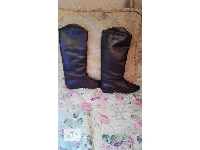 Кожаные сапоги с искусственным мехом- объявление о продаже  в Сумах