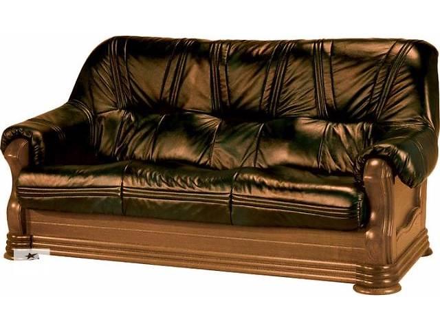 Кожаный мягкий комплект, кожаный диван на дубе+кресло- объявление о продаже  в Дрогобыче