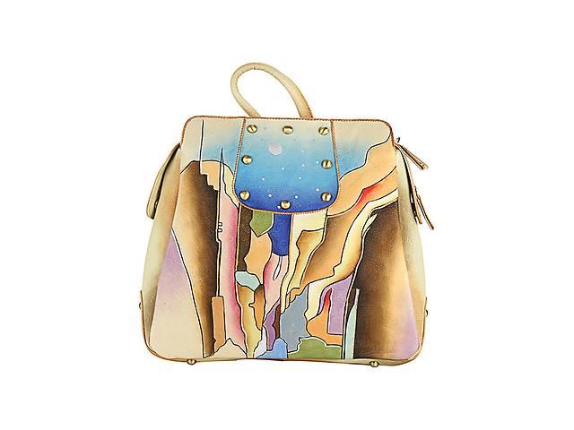 купить бу Кожаный женский комфортный рюкзак яркой расцветки в Киеве