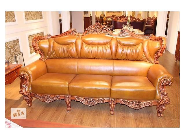 Кожаный диван 3-ка в классическом стиле из дуба.- объявление о продаже  в Одессе