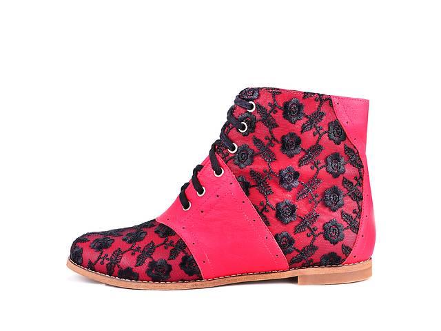 купить бу красные стильные ботинки реплика кензо демисезонные кожаные отделка гипюр в Днепре (Днепропетровск)