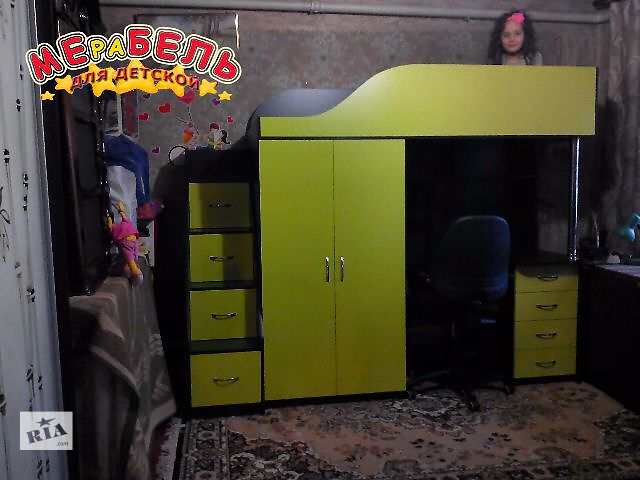 купить бу Кровать-чердак с рабочей зоной, шкафом и лестницей-комодом (кл7-2) Merabel Рассрочка в Харькове