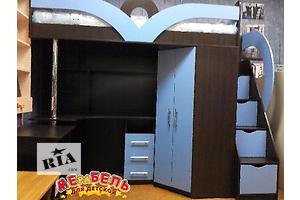 Кровать-чердак с рабочей зоной, угловым шкафом и лестницей-комодом (кл6-2) Merabel