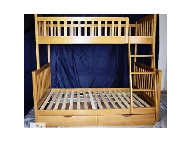 Кровать детская двухъярусная трехспальная деревянная Жасмин с цеха- объявление о продаже  в Киеве