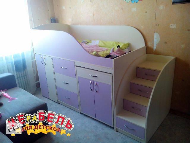 купить бу Кровать детская с выдвижным столом, ящиками, тумбой и лестницей-комодом (дл1-3) Merabel Рассрочка в Харькове