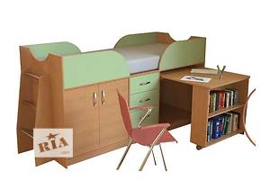 Кровать чердак с рабочей зоной и тумбой