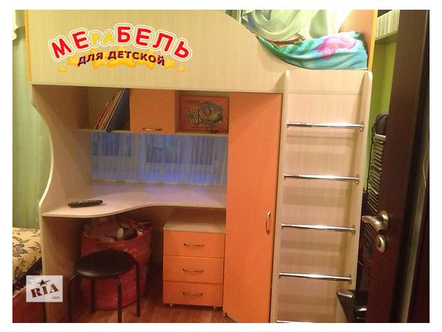 купить бу Кровать-чердак с рабочей зоной и угловым шкафом (к25) Merabel в Харькове