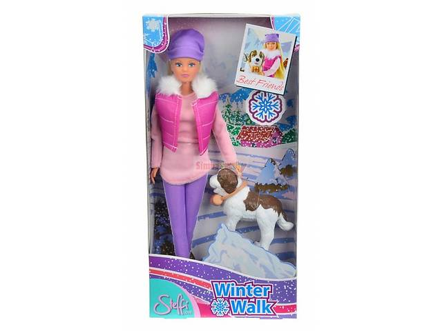 купить бу Кукла Штеффи Зимняя прогулка с собакой спасателем Simba (5730931)  в Ровно