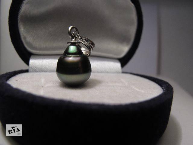 бу Кулон, подвеска. Океанический чёрный жемчуг Таити, радужные обертоны, серебро 875 пробы в Киеве