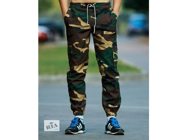 Молодежные камуфляжные штаны с резинкой внизу