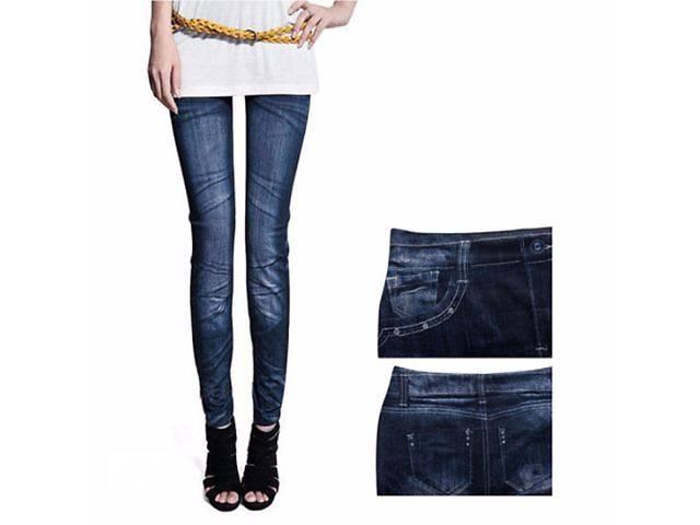 купить бу Леггинсы джеггинсы с джинсовым дизайном в наличии бесплатная доставка в Николаеве