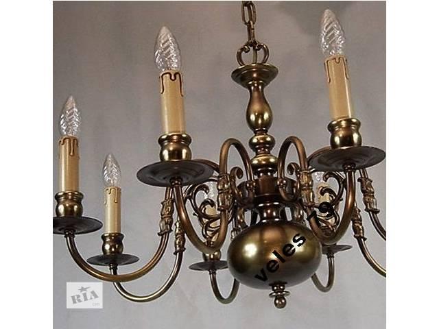 Люстра бронзовая, на 10 ламп, Германия 1950-е г. - объявление о продаже  в Каменском (Днепродзержинске)