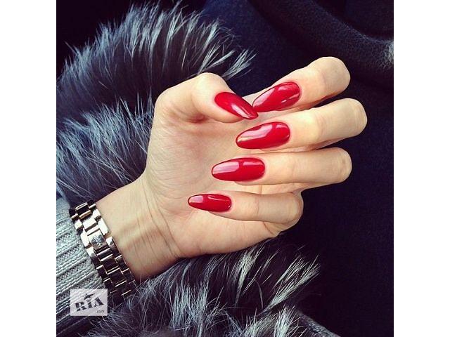 Фото ногти красные овальные