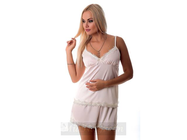 продам Молочная шелковая пижама с кружевом П013 бу в Харькове