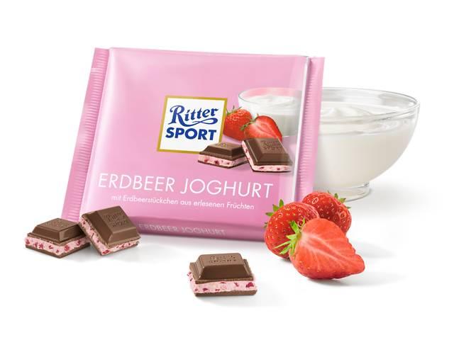 продам  Молочный шоколад Ritter Sport с кусочками ягод, клубнично-йогуртовым кремом и хрустящими рисовыми хлопьями бу в Харькове