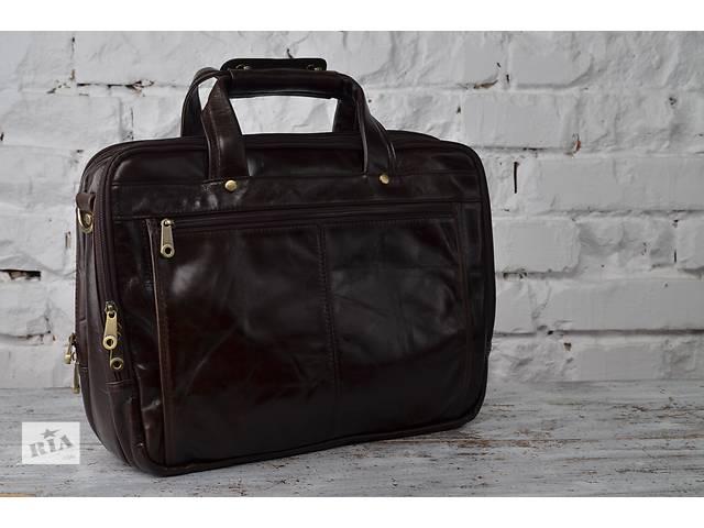 продам Мужская деловая кожаная сумка-портфель.Коричнево-вишневый цвет.Ручная работа! бу в Киеве