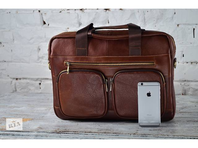 купить бу Мужская коричневая портфель-сумка из 100%кожи.Ручная работа. в Киеве