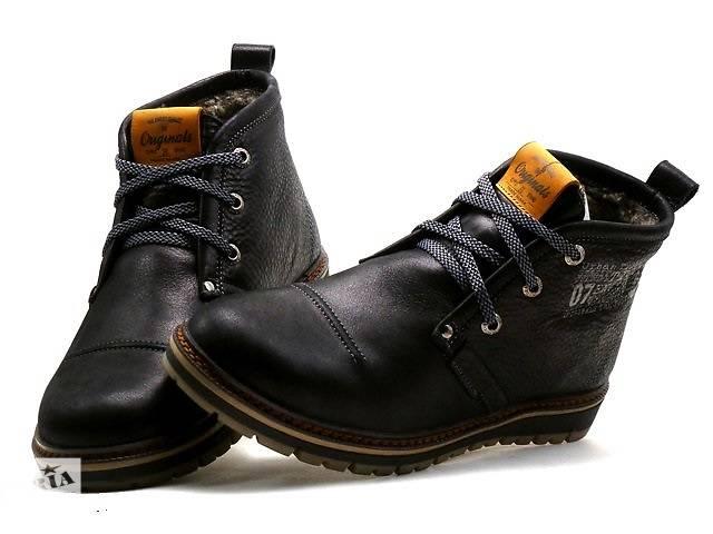 купить бу Мужские кожаные Ботинки Clarks Бесплатная доставка по Украине black черные с мехом в Киеве