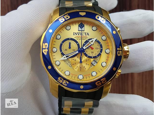 купить бу Мужские швейцарские часы invicta limited edition pro diver blue gold в Львове