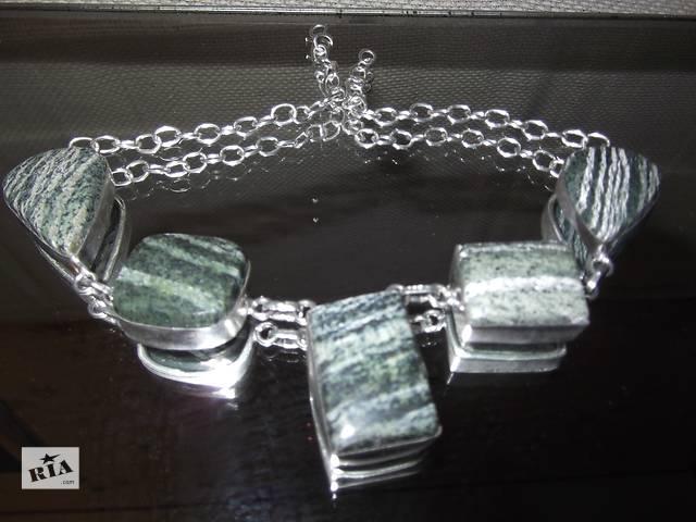 купить бу Набор  Серафинит в серебре колье и кольцо. в Киеве