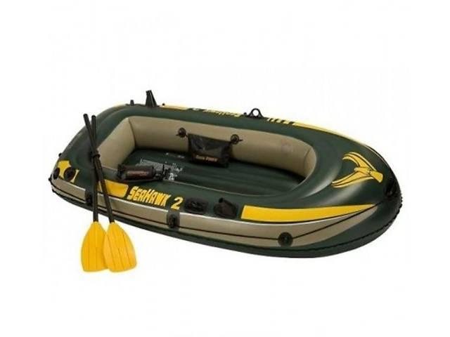 купить бу Надувная лодка (2-х местная) Intex 68347 Seahawk 2 + пластиковые весла и насос (236 x 114 x 41 cm) в Тернополе