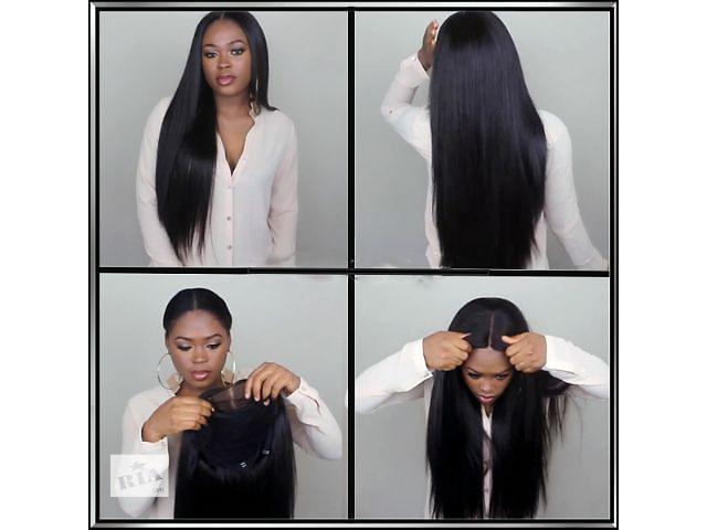 Натуральный парик, с натуральных волос, живой, длинный, тёмный, чёрный, сетка спереди (купить парик) - объявление о продаже  в Киеве