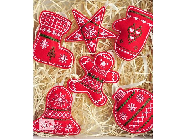 купить бу Новогодние игрушки из ФЕТРА, Вышивка. Скандинавский. 5шт в Одессе