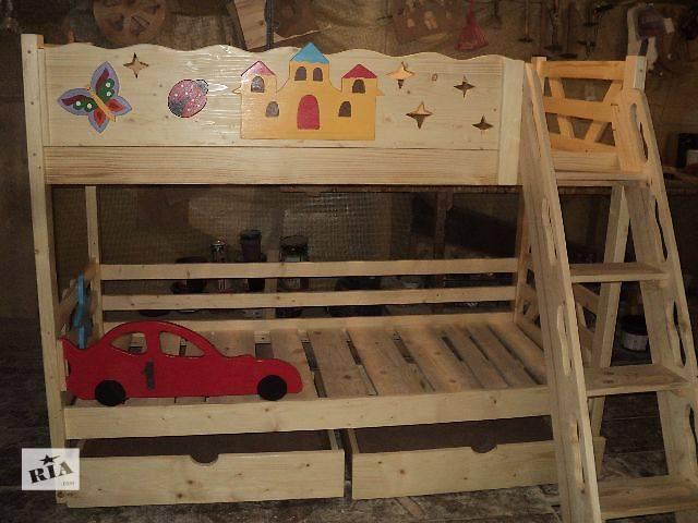 купить бу Новинка двухъярусная кровать из смереки карпатской для ваших деток в Киеве