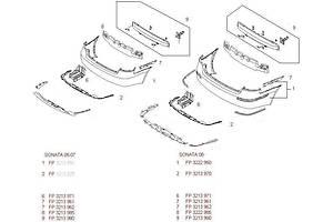 Новые Бамперы задние Hyundai Sonata