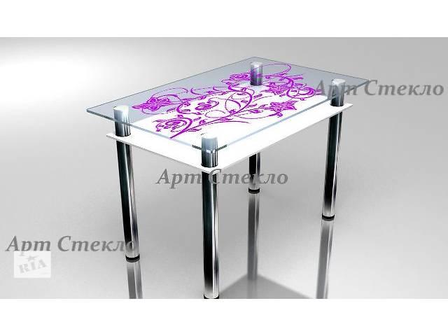 продам Обеденный стеклянный стол с полкой 1000*600мм бу в Дружковке