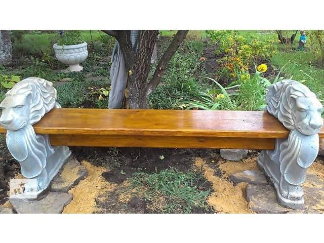 продам Парковые лавочки, скамейки, лавки уличные из бетона для сада и дачи купить в сборе с деревянным седлом или одни ножки. бу в Киеве