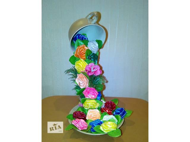 продам Парящая чашка с цветами сувенир подарок топиарий. бу в Херсоне