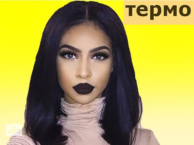 купить бу Парик каре чёрный без чёлки на сетке Lace front wig, полусистема волос термо волосы в Киеве
